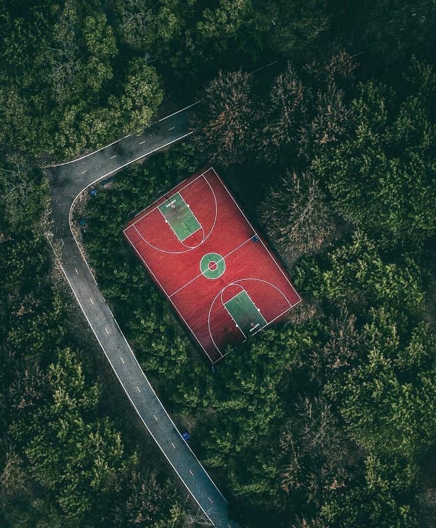 Баскетбольная площадка где-то в лесу Санкт-Петербурга