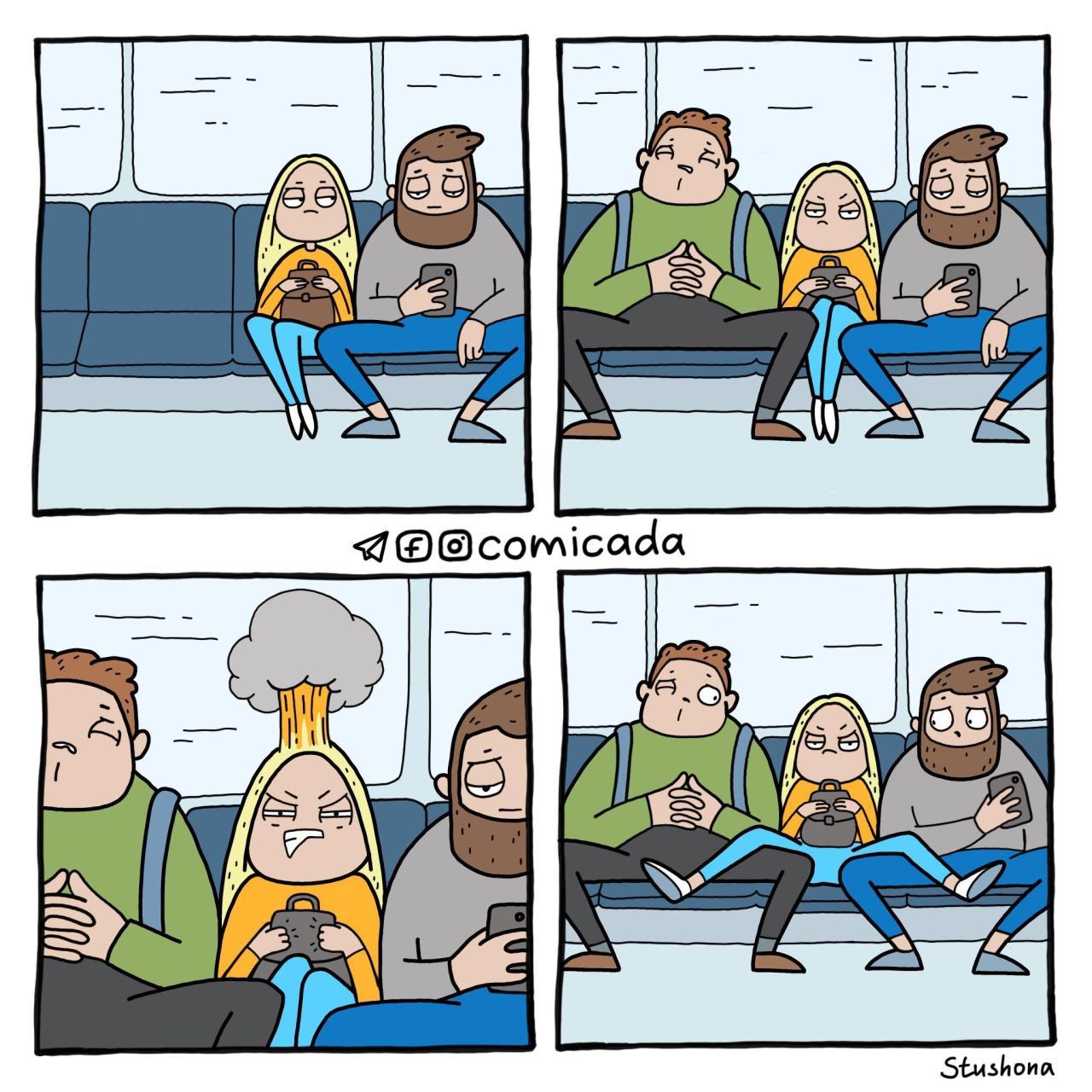 Когда мужики раздвигают ноги в транспорте