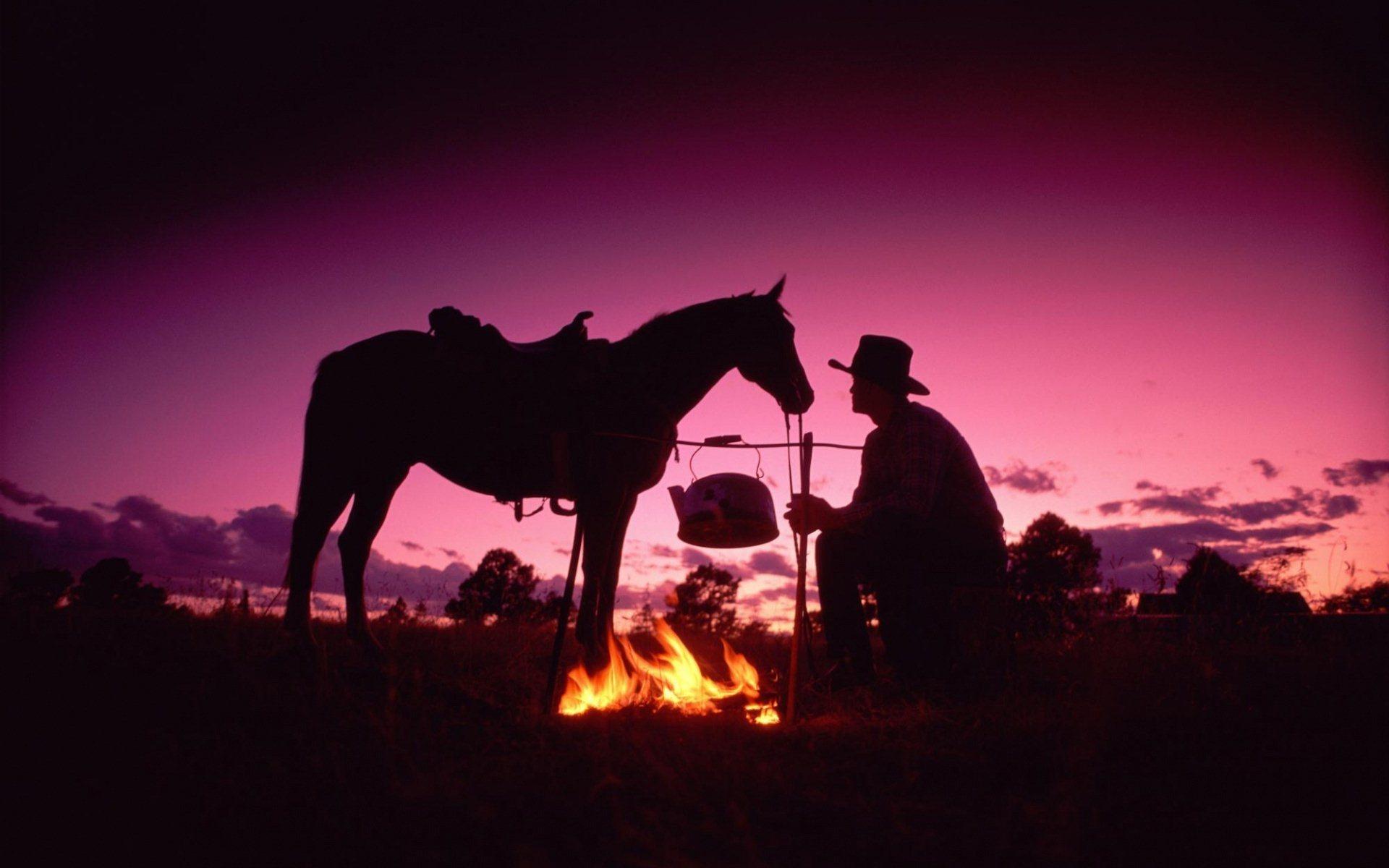 Ковбой, лошадь и костёр