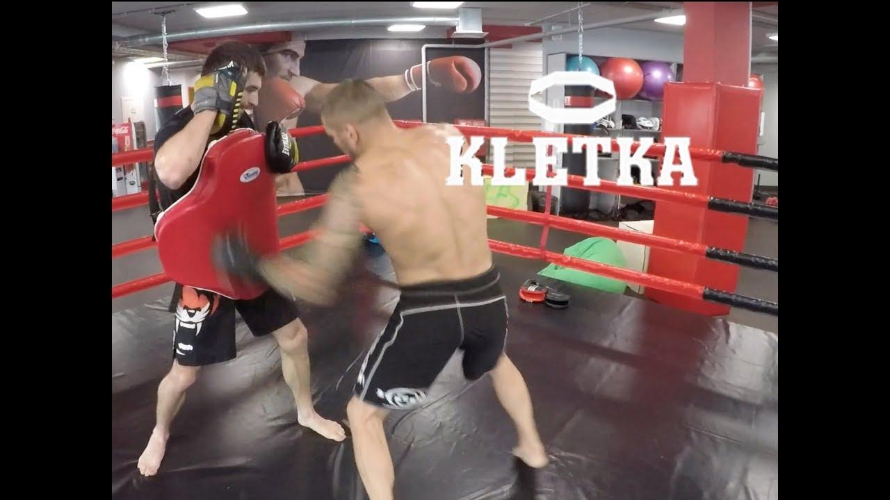 Тренировка по тайскому боксу и кикбоксингу Андрея Басынина и Виталия Дунца