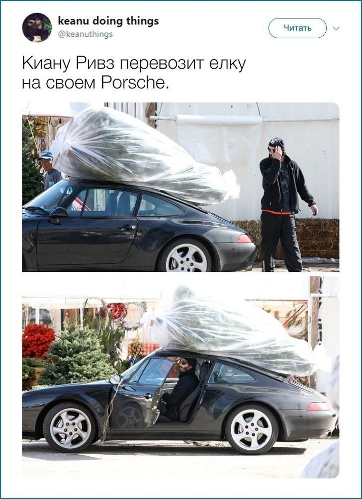 Киану Ривз и новогодняя ёлка
