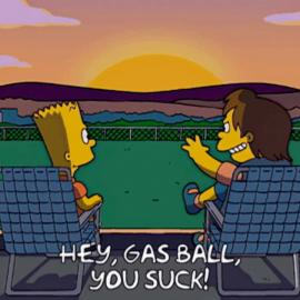 Барт и Нельсон смотрят на закат